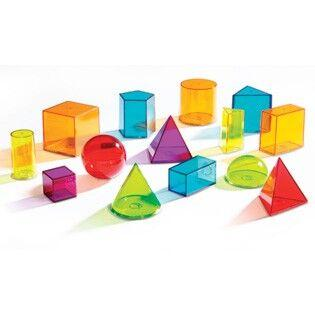Light Table, Transparent Geometric Solids Shape Set