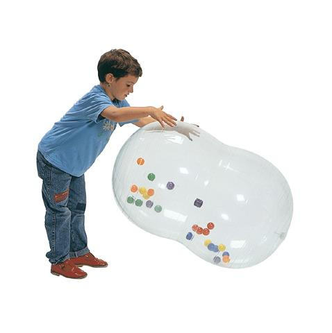Clear 50x90cm Physio Roll Ball with smaller balls inside for engagement