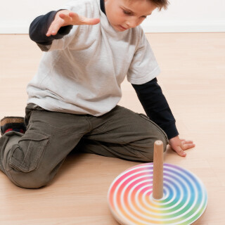 Wooden Spinning Top with Changeable Paper Patterns