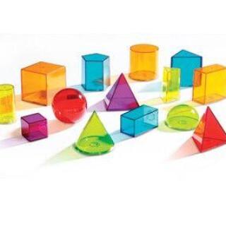 Light Table, Transparent Geometric Solids Shape Set